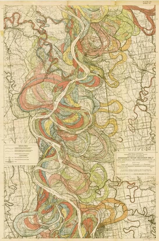 Harold Fisk 1944 Mississippi River meander alluvial floodplain map